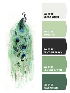 """Peacock Color Board for the bathroom! I love the idea of using a nouveau peacock theme. It blends blue and green together and touches upon the """"vanity"""" theme -which is perfect for a bathroom! by Fleur Krusager Thomsen Peacock Bathroom, Bathroom Art, Bathroom Colors, Bathroom Ideas, Bathrooms, Bathroom Remodeling, Color Combos, Color Schemes, Green Colors"""