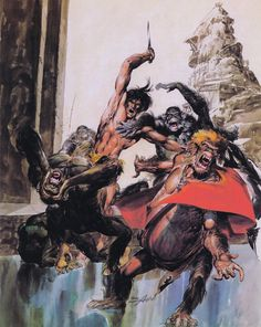 """The """"Black Edition"""" of the Tarzan novels from Ballantine books by painted Neal Adams."""