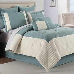 The Hathaway Comforter Set has a hotel-frame layout in soothing aqua tones that make it perfect for creating a relaxing, welcoming look in your bedroom.