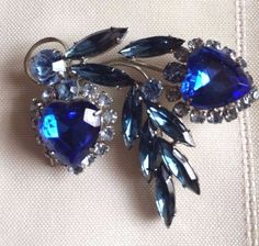 Vintage Estate Deep Blue,Glass Rhinestone Heart Shaped Brooch-Gorgeous! #Unbranded