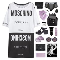 """MOSCHINO COUTURE"" by emmas-fashion-diary ❤ liked on Polyvore featuring Moschino, Vagabond, Christy, Wildfox, Living Proof, Barneys New York, TokyoMilk, philosophy and Maison Margiela"