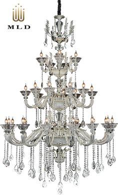 Luxury hanging chandelier in silver colour with magnificiant crystals - unique collection Silver Dream Decor, Luxury Lighting, Hanging, Hanging Chandelier, Lights, Silver Color, Chandelier, Color, Ceiling Lights