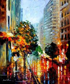 Leonid Afremov.   As a little girl, I would look out of our second-floor flat at the city streets below, drenched in rain and multiplying the effects of all the lights, including the marquee of the theatre across the street. Enchanting!