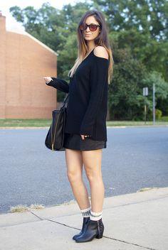 leather skirt + loose long sleeves + bag + booties