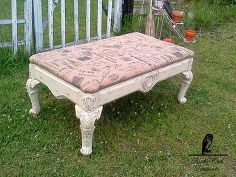 old coffee table turned into a bench, chalk paint, painted furniture, repurposing upcycling, shabby chic, After