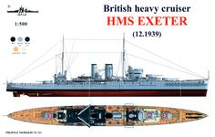 HMS Exeter (68) York-class heavy cruiser British Royal Navy, Battle of the River Plate 12.1939 configuration. (google.image) 6.17