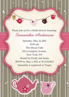 Printable pink and brown bridal shower tea party invitations EWBS030  