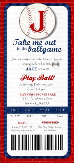 Custom Printed Baseball Ticket Shower or Birthday Invitation. $70.00, via Etsy.
