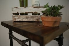 Rustic Industrial Side Table / Farmhouse by LittleWoodenPenguin