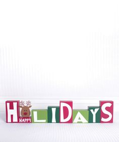 Look at this Red Reindeer 'Happy Holidays' Block Sign on #zulily today!