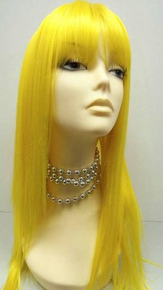Long 20 inch Yellow Wig with Bangs. Cosplay Wig. by ParamountWigs