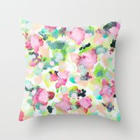 Throw Pillows featuring Garden Print floral watercolor pattern art- The Love We Make by Rikki Sneddon