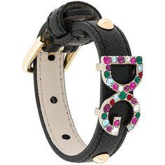 Dolce & Gabbana DG crystal detail bracelet ($295) ❤ liked on Polyvore featuring jewelry, bracelets, black, studded jewelry and dolce gabbana jewelry