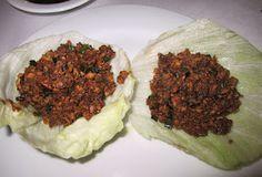 Tacos de lechuga con carne de pichón. Hunan, México