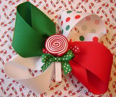Girl's Holiday Large Loop Boutique Bow in Red, White, Green and White Multi Polka Dots with Removable Lollipop Ribbon Sculpture Clippie on Etsy, $11.95