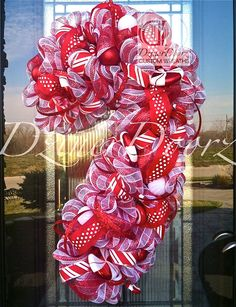 Deluxe Peppermint Candy Cane deco mesh Wreath by DzinerDoorz