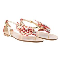 "Glitter ""flower"" flat flip-flop sandal  suede trim"