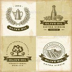 Vintage Olive Oil Labels Set - Decorative Symbols Decorative