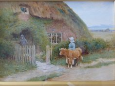 Claude Strachan: A Calf at the Cottage Gate, watercolour on paper - Foxhouse Fine Art | Selected Works of Art, Ceramics & Glass, Jewellery &...