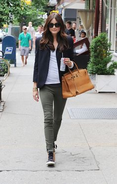 Navy blazer and olive skinny pants