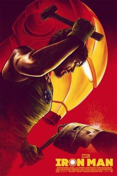 """Screen print poster for """"Marvel Studios, The first ten years"""" exhibit by Mondo Gallery.The core idea was to pay homage to the very heart of the MCU: Tony Stark forging the Mark 1 helmet. Marvel Comics, Hero Marvel, Marvel Art, Captain Marvel, Captain America, Marvel Avengers, Iron Man Marvel, Iron Man Avengers, Iron Man 2008"""