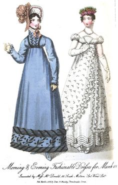 Regency Era Fashion Plate - March 1818 Ladies' Monthly Museum