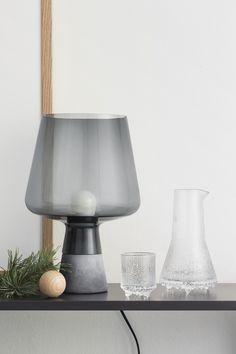 Leimu lampe from Ittala Art Nouveau, Grey Table Lamps, Central Saint Martins, Modern Glass, Scandinavian Home, Lamp Design, Light Design, Glass Table, Lampshades