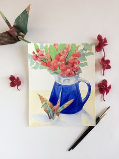 Items similar to Still life print: origami crane & orchid flowers watercolor print - good luck housewarming gift - art print or - watercolor flowers on Etsy Watercolor Print, Watercolor Flowers, 1000 Paper Cranes, Red Orchids, Pigment Ink, Origami, Original Paintings, Wings, Art Prints