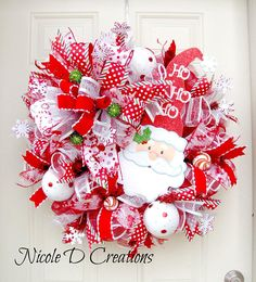 Items similar to Santa Red and White Christmas Wreath- Christmas Mesh Wreath- Santa Mesh Wreath- Santa Christmas Wreath- Christmas Front Door Wreath on Etsy Christmas House Decorations Inside, Christmas Front Doors, Christmas Mesh Wreaths, Easter Wreaths, Door Wreaths, Santa Wreath, Ribbon Wreaths, Yarn Wreaths, Christmas Swags