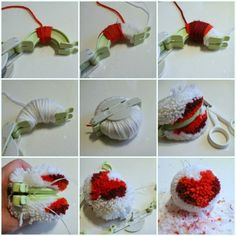 Pin by Sari Suvanto on Knitting misc Pom Pom Crafts, Yarn Crafts, Diy Arts And Crafts, Diy Crafts, Pom Pom Animals, Pom Pon, Pom Pom Maker, Boyfriend Crafts, Valentine's Day Diy