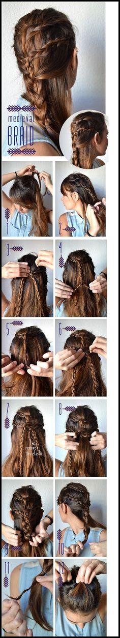 Cute MEDIEVAL BRAID - hair braiding tutorials.Super cute braided hair idea for girls.