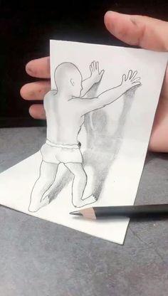3d Pencil Drawings, 3d Art Drawing, Art Drawings For Kids, Art Drawings Sketches Simple, Illusion Drawings, Illusion Art, Hand Art Kids, Art Drawings Beautiful, Genre
