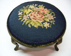 Reserved for Debbie  Vintage Victorian Needlepoint Footstool