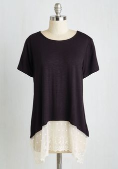 Let's Get Varied Away Top - Mid-length, Jersey, Knit, Lace, Black, White, Solid, Lace, Casual, Short Sleeves, Good