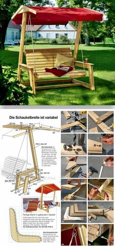 DIY Garden Swing - Outdoor Furniture Plans and Projects - Woodwork, Woodworking, Woodworking Plans, Woodworking Projects Woodworking Projects That Sell, Woodworking Furniture, Diy Woodworking, Diy Furniture, Bamboo Furniture, Backyard Projects, Diy Wood Projects, Outdoor Projects, Do It Yourself Decoration