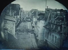 Barricades in the streets of Paris during the French Revolution of 1848.