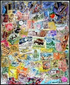 Wendy Angel - art using postage Postage Stamp Art, Love Stamps, Angel Art, Art Journal Pages, Mail Art, Diy Wall Art, Stamp Collecting, Art Google, Collage Art