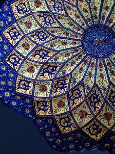Handmade Hand painted Traditional Persian Wall hanging, Decorative Copper Plate, Mina Kari. $65