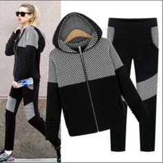2014 new women's fashion casual sports hooded cardigan jacket + pants suit 1475  #New #Casual
