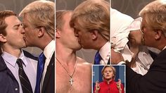 'Is the whole world insane?' Alec Baldwin's Trump kisses the FBI, Putin and the KKK on SNL as incredulous Hillary just can't shake her email saga in hilarious cold opening.