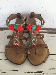 347857ebd Sam Edelman Womens Sandals Size 7.5 Brown Leather Fringe Flat ...