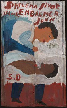Sam Doyle, St. Helena First Black Embalmer John. Reused, corrugated, galvanized iron sheet; paint; remains of horizontal caulk line, 41 x 25...