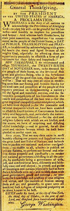 "President Washington declares a national day of Thanksgiving and Prayer to an ""Almighty God"", as he recognized the reason for our country's existence."