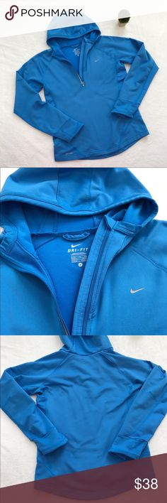 {Nike} Dri Fit Quarter Zip Hoodie Beautiful blue color! In great condition. Soft on the inside. Light weight and perfect for early morning runs year round ❤ Nike Tops Sweatshirts & Hoodies