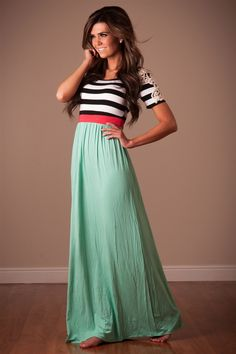 Mint coral Summer Maxi Dress | Affordable Modest Boutique Clothes for Women | Trendy Modest Church Dresses for Women