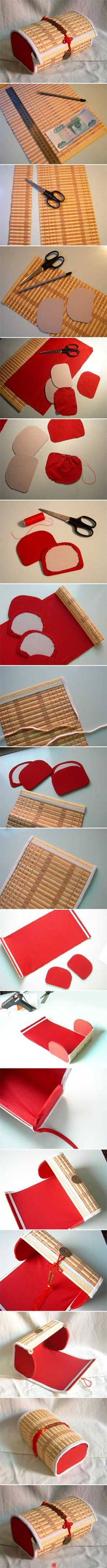 .This pictorial is what is on the site.Very cute project from a bambu place mat.  Great to hold brushes, cosmetics, or any kind of thing you wish to store together.