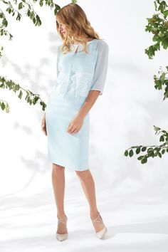 Millie Dress And Chiffon Jacket Blue Mother of the Bride Set Chiffon Jacket, Maxi Styles, Blue Pearl, Spring Summer 2018, Types Of Sleeves, Mother Of The Bride, White Dress, Bodycon Dress, Stylish