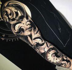 Artist i skull tattoos, sleeve tattoos, cool tattoos, amazing tattoos, blac Wicked Tattoos, Dope Tattoos, Body Art Tattoos, Girl Tattoos, Sleeve Tattoos, Skull Tattoos, Full Sleeve Tattoo Design, Sketch Tattoo Design, Tattoo Sketches