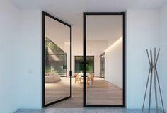 double glass pivot door