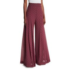See By Chloe High-Rise Chiffon Polka-Dot Trousers ($520) ❤ liked on Polyvore featuring pants, burgundy, relaxed fit pants, chiffon pants, high-waisted wide leg pants, polka dot pants and high waisted pants